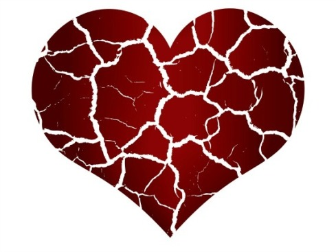 Illustration of broken heart in peaces, vector image.